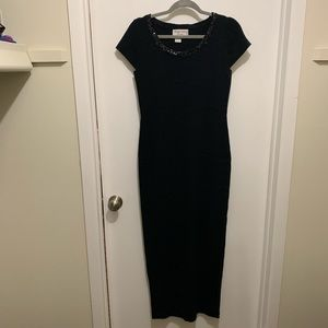 Adrianna Papell Occasions Black Knit PS Maxi Dress